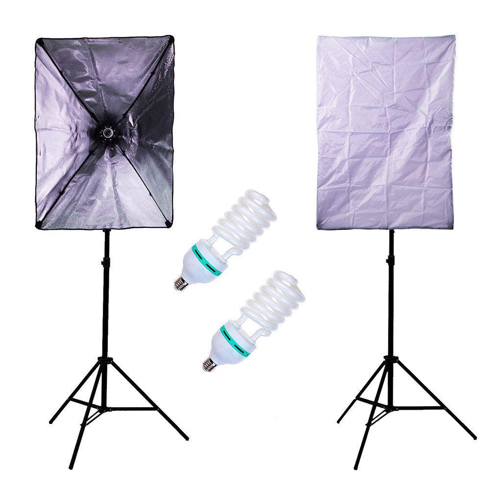 Kit de Iluminação Newborn 3 com 2 Lâmpadas 150w,  Softbox, Soquete Embutido, Tripés e Bolsa  - Fotolux