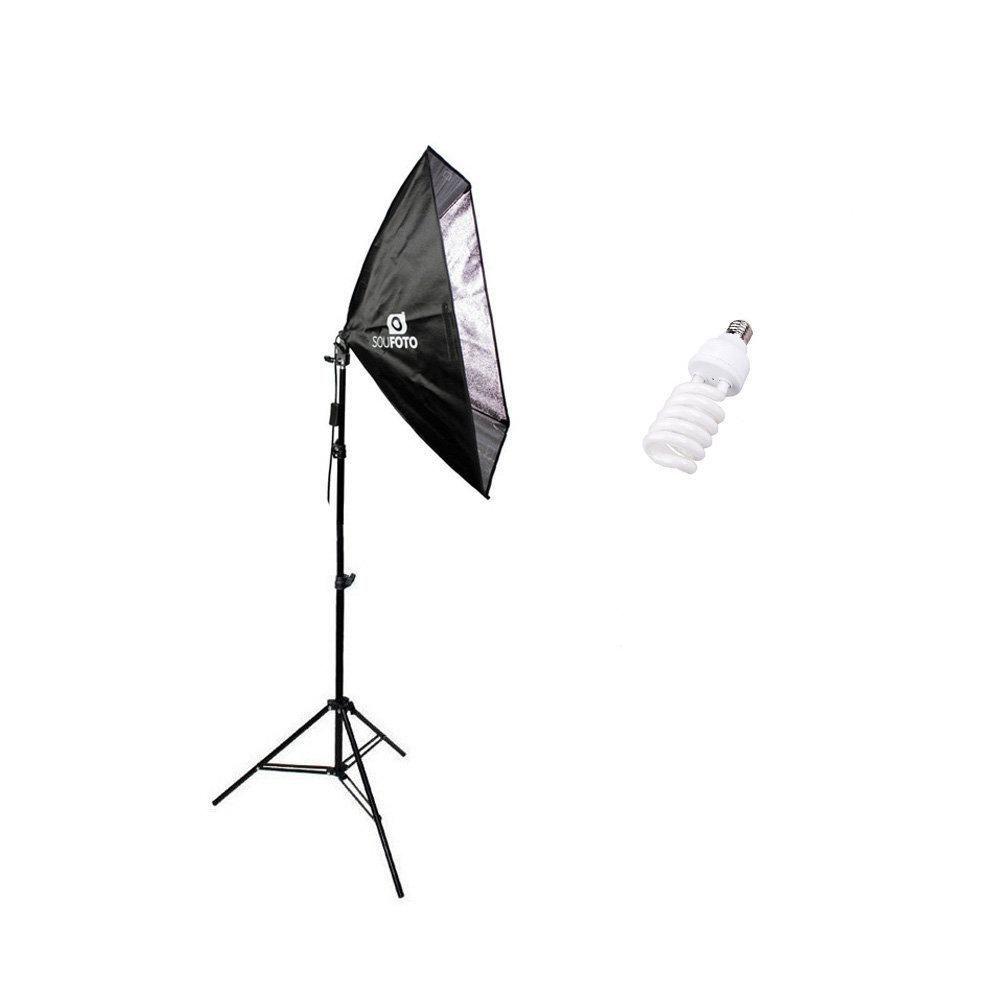 Kit de Iluminação para Estúdio Fotográfico 45W com Softbox 50x70cm de Soquete E-27 Embutido e Tripé de 2 metros Sou Foto - 110v  - Fotolux