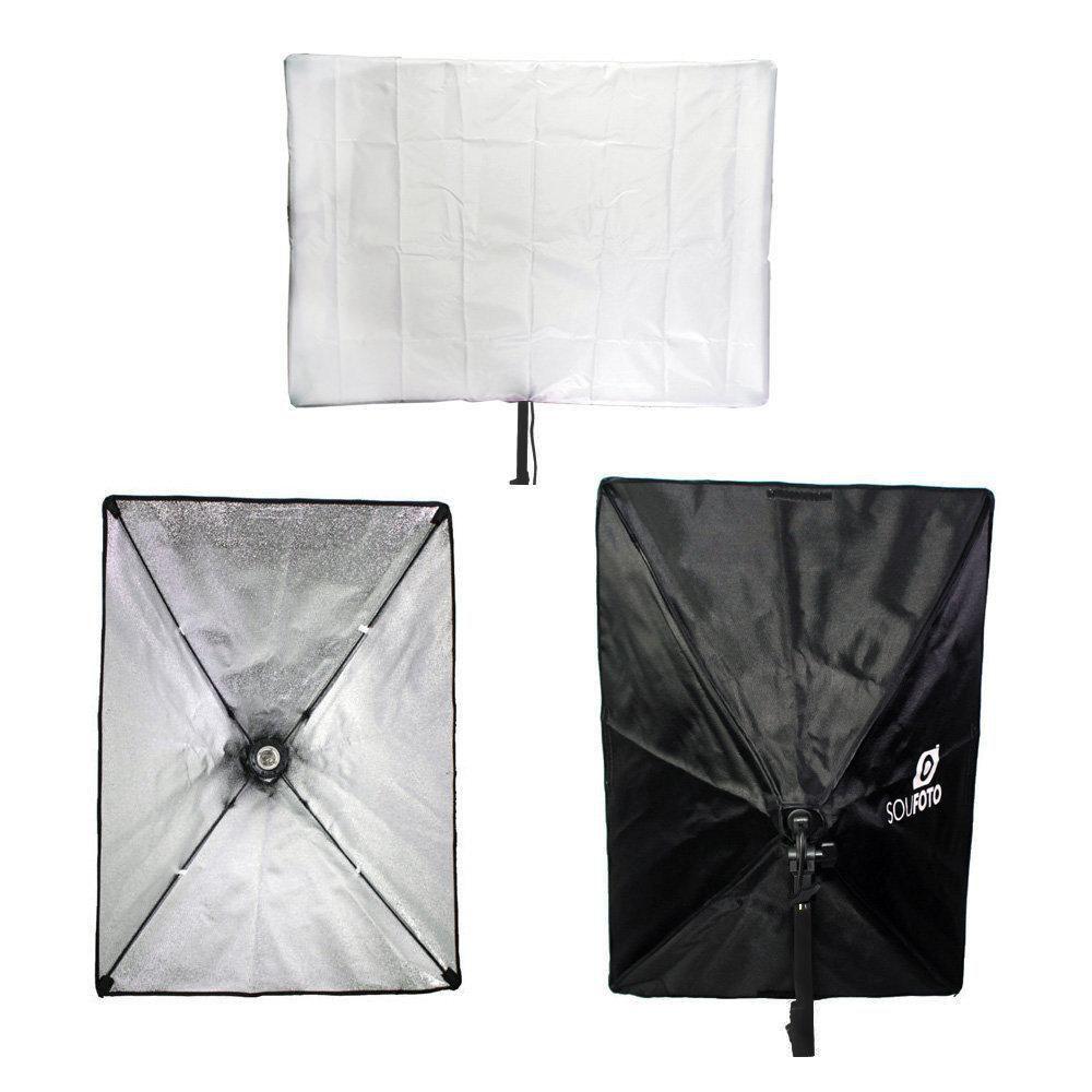 Kit de Iluminação para Estúdio Fotográfico 45W com Softbox 50x70cm e Tripé de 2m Sou Foto