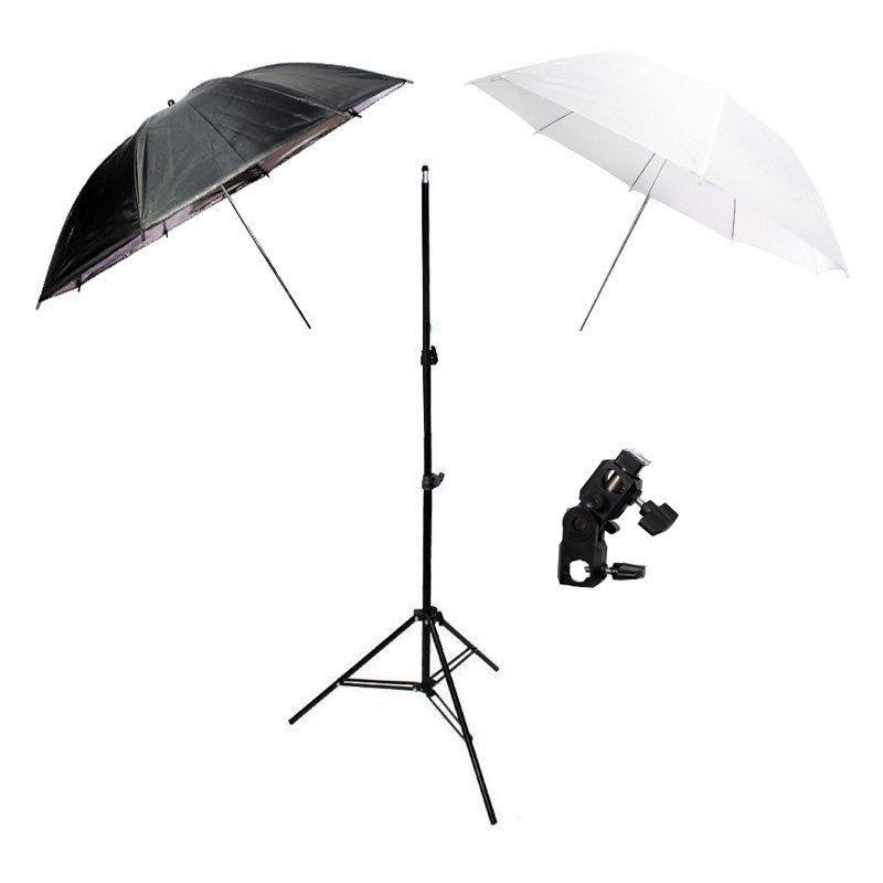 Kit de Iluminação para Estúdio Fotográfico com Suporte YA-422, Sombrinha Branca Difusora, Sombrinha Preta/Prata e Tripé 2m Sou Foto  - Fotolux