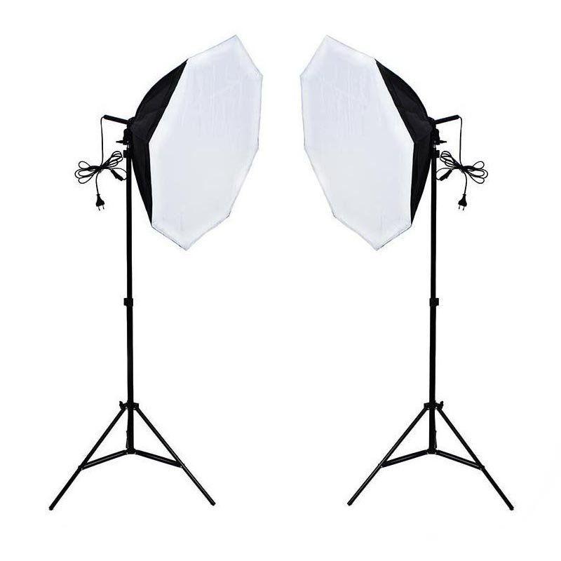 Kit de Iluminação para Estúdio Fotográfico Newborn 3 Octagonal - 300w com Softbox e Tripés de Iluminação de 2m