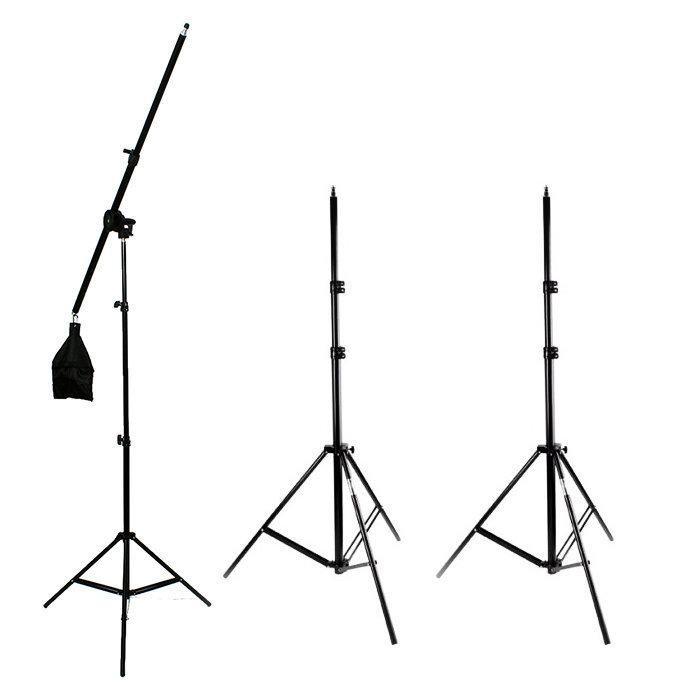 Kit de Iluminação para Estúdio Fotográfico SB-03K 510w Softbox, Braço Girafa e Tripés 2m