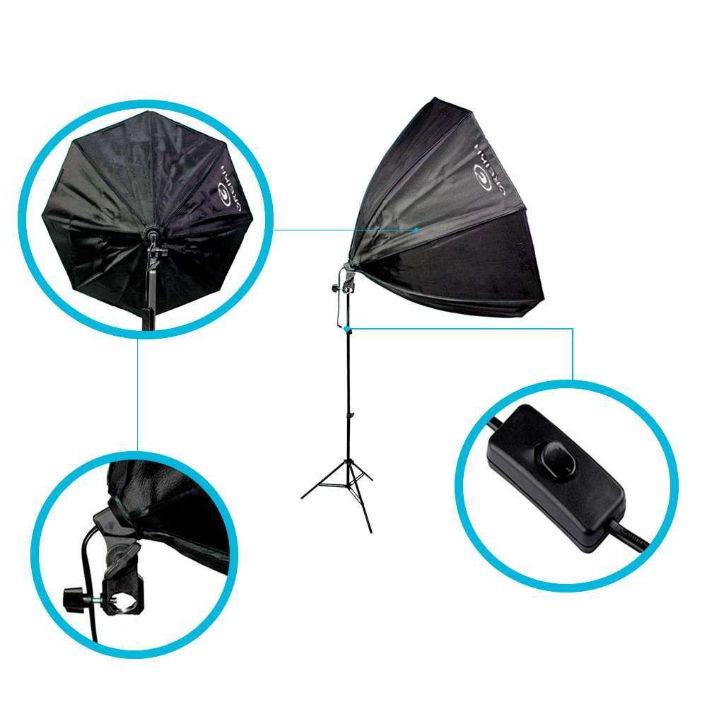 Kit de Iluminação Softbox Octagonal 60cm Greika com Soquete Embutido e Tripé de 2m para Estúdios de Fotografia  - Fotolux