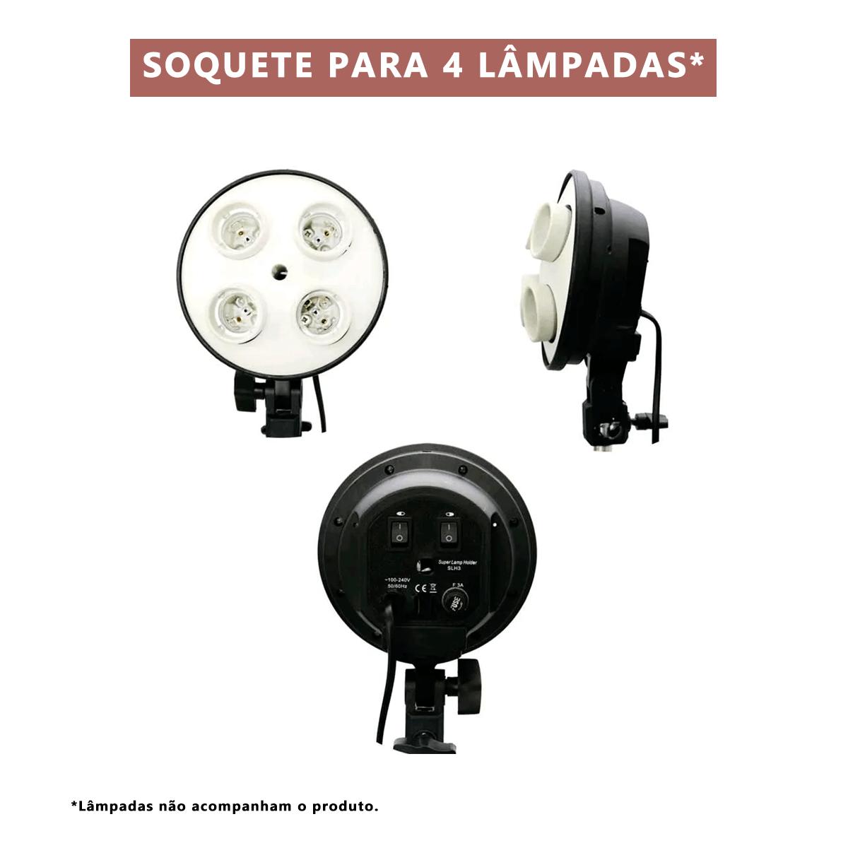 Kit de Iluminação Softbox Quádruplo Vareta 50x70cm Greika com Tripé de 2,40m para Fotografia  - Fotolux