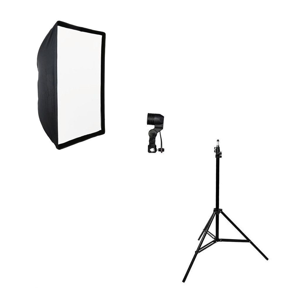 Kit de Iluminação Softbox Universal 60x90cm, Soquete Simples E-27 e Tripé 2m