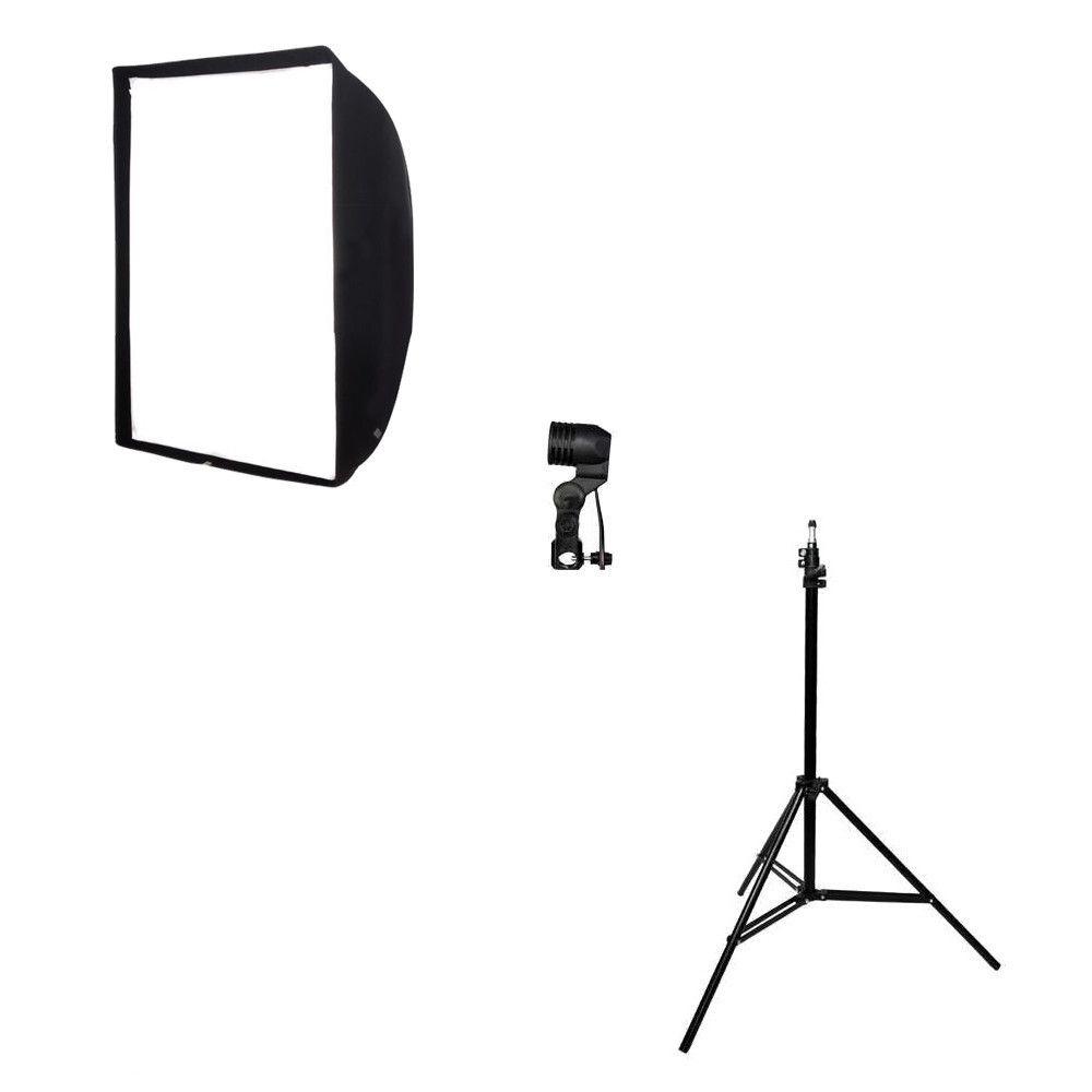 Kit de Iluminação Softbox Universal 90x90cm, Soquete Simples E-27 e Tripé 2m  - Fotolux