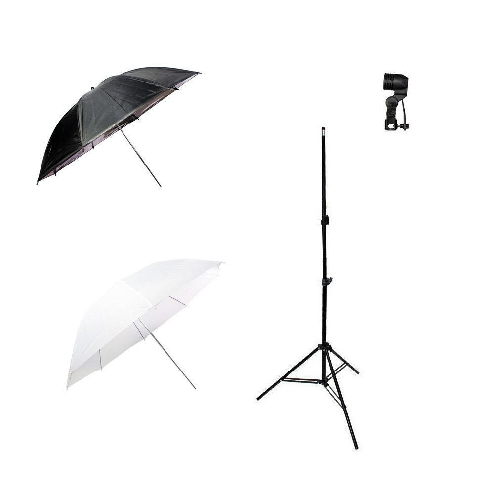 Kit de Iluminação Sombrinha Branca, Sombrinha Preta e Prata, Tripé 2m e Soquete Simples Sou Foto  - Fotolux