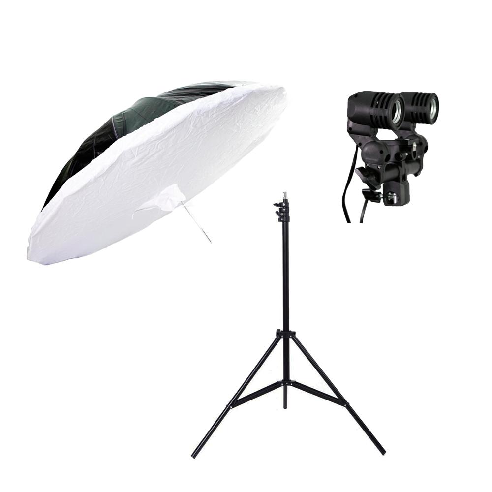 Kit de Iluminação Sombrinha RUS-150, Soquete Duplo e Tripé de Iluminação de 2,40cm para Estúdios de Fotografia  - Fotolux