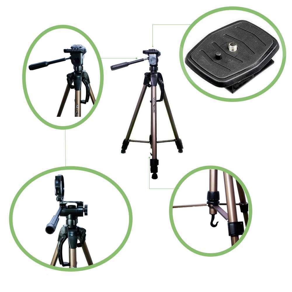 Kit de Tripé de Câmera Weifeng WT-3750 com Suporte de Celular e Lente Super Wide para Fotos e Vídeos  - Fotolux