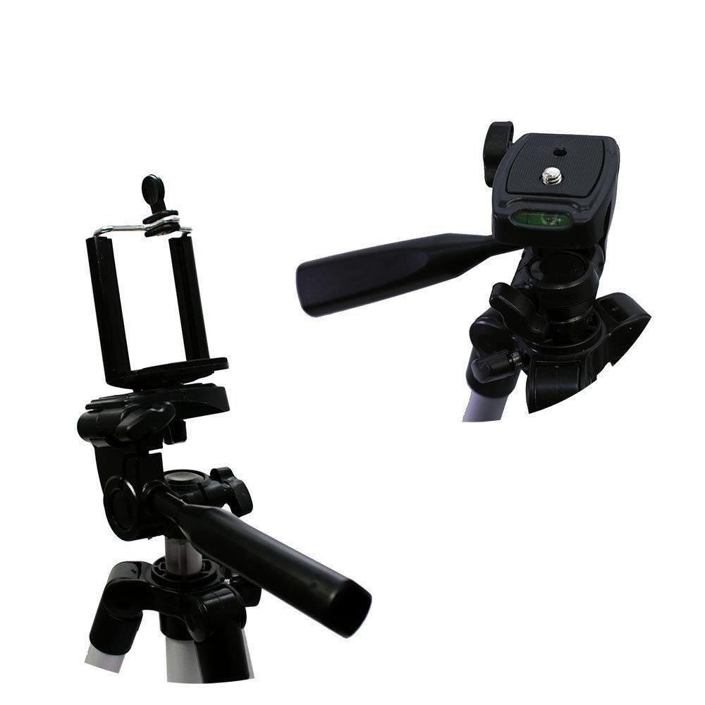 Kit de Tripé Nest KT-3111 com 106cm de Altura e Suporte de Celular Universal para Foto e Vídeo