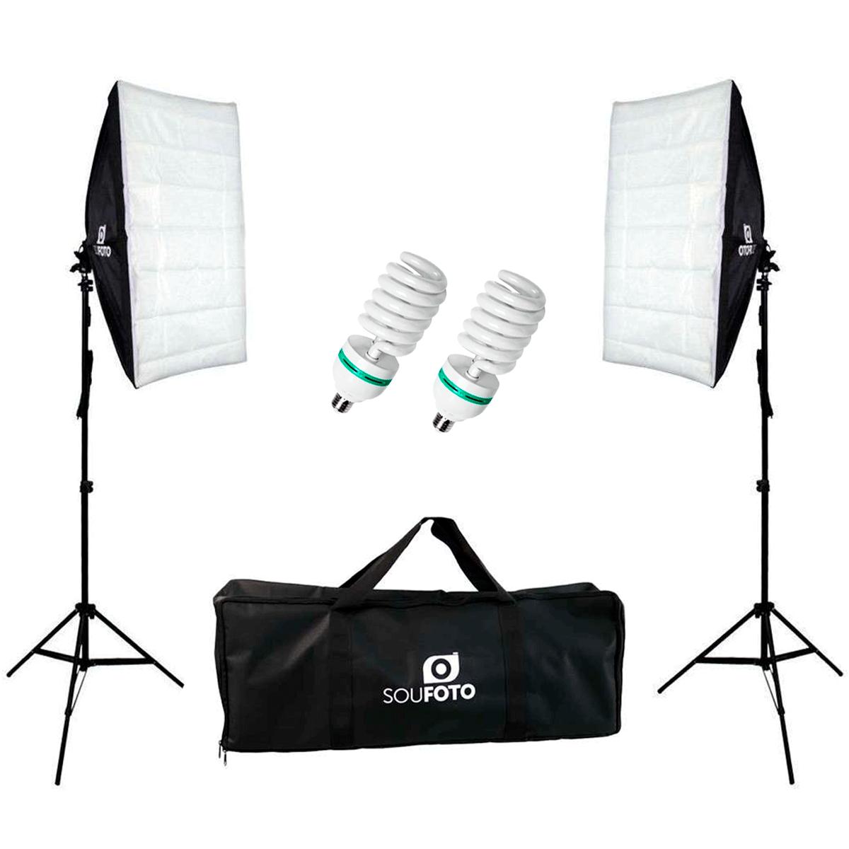 Kit Duplo de Iluminação 220V para Estúdio Fotográfico com Softbox, Tripé, Bolsa de Transporte Sou Foto e Lâmpada 155w