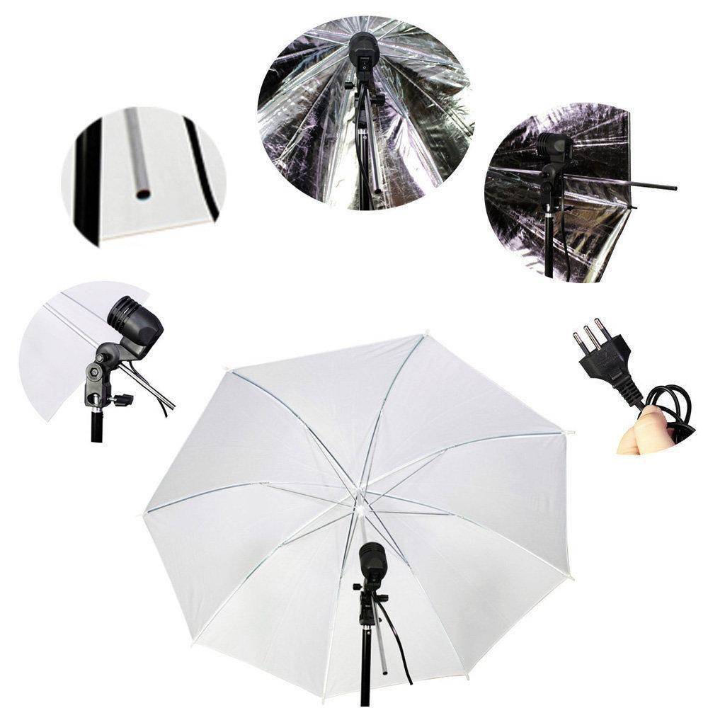 Kit de Iluminação Duplo com Sombrinha Branca Difusora e Preta/Prata Refletora, Tripés de 2m e Soquete E-27  - Fotolux