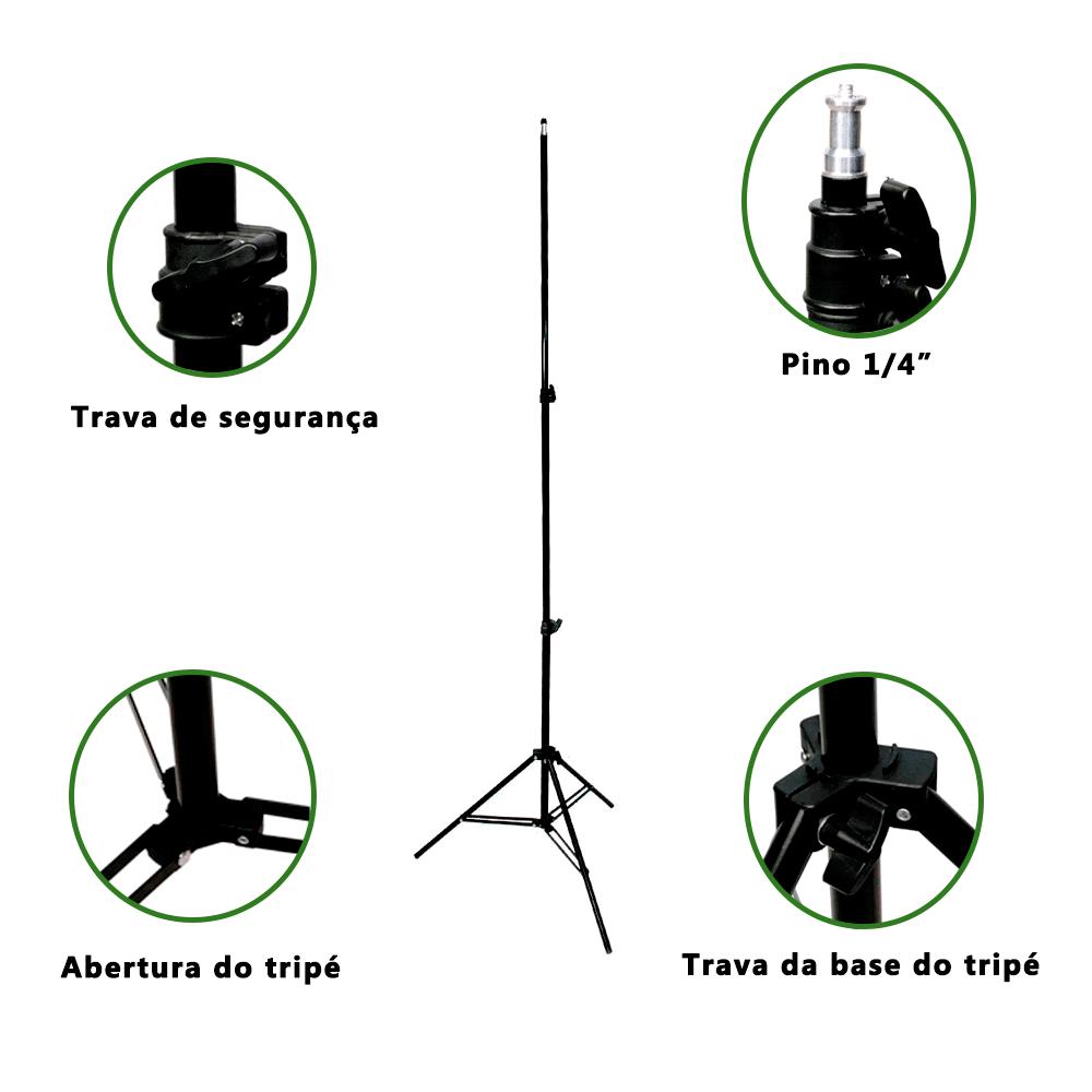 Kit Duplo de Iluminação Softboxes Greika 50x70cm com Soquetes E-27 Embutidos e Tripés de 2m para Estúdio Fotográfico  - Fotolux