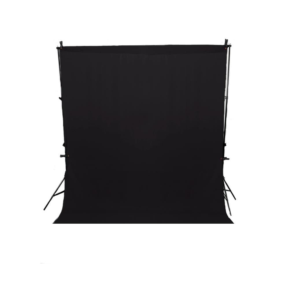 Kit Fundo Infinito Preto 1,5m x 2m com Suporte SFI-243 + 4 Grampos  - Fotolux