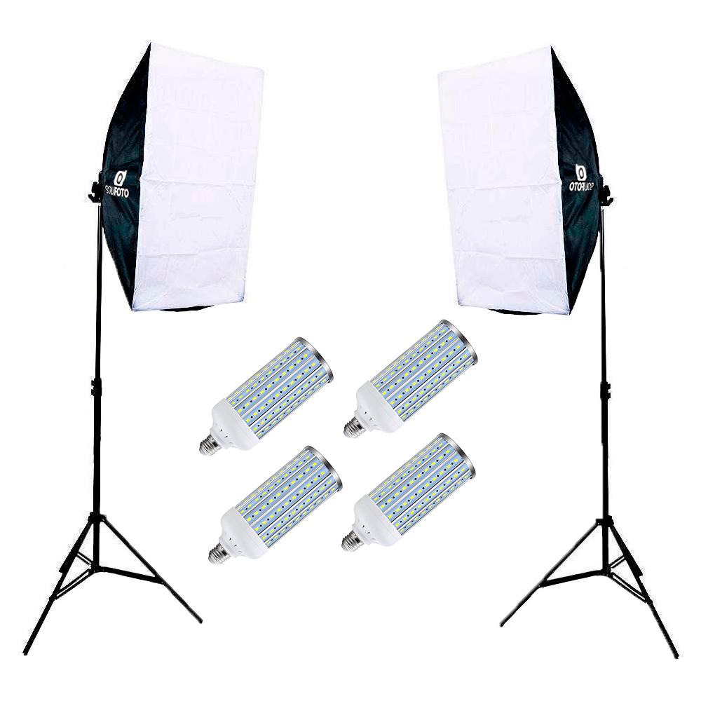 Kit Iluminação com Duplo Softbox Vareta 50x70cm completo e Lâmpadas de Led 60w para Estúdio Fotográfico  - Fotolux