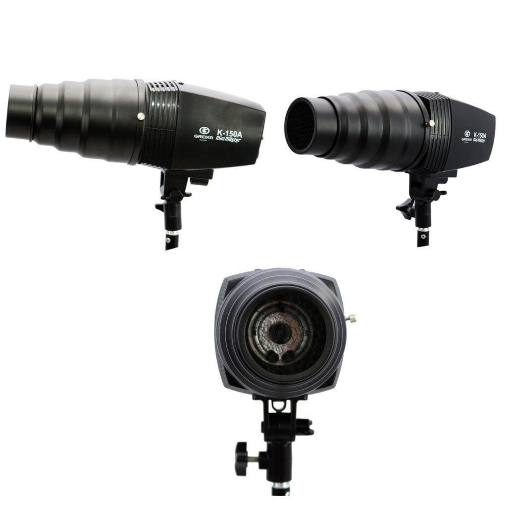 Kit Iluminação Flash K150A 150W, Cone Snoot Colmeia e Tripé Girafinha para Estúdio Fotográfico  - Fotolux