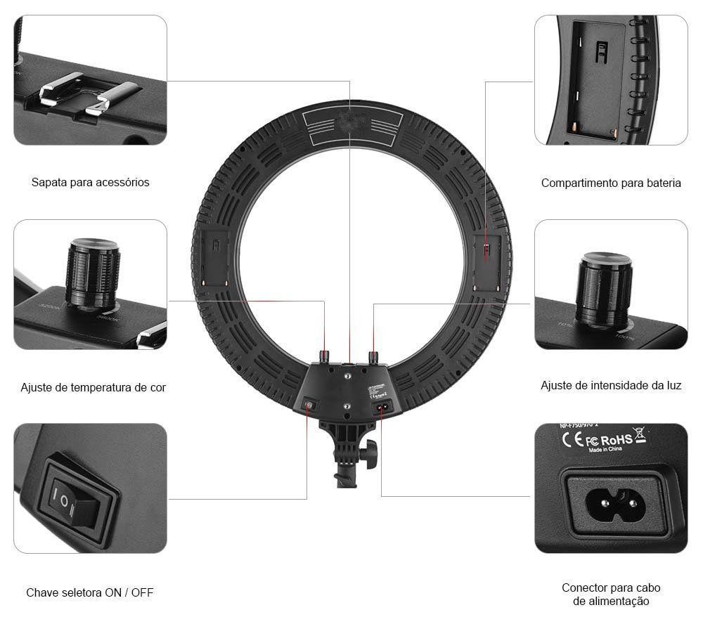 Kit Iluminador Ring Light Greika R-40B Bicolor 35cm + Tripé de Iluminação 2m  - Fotolux