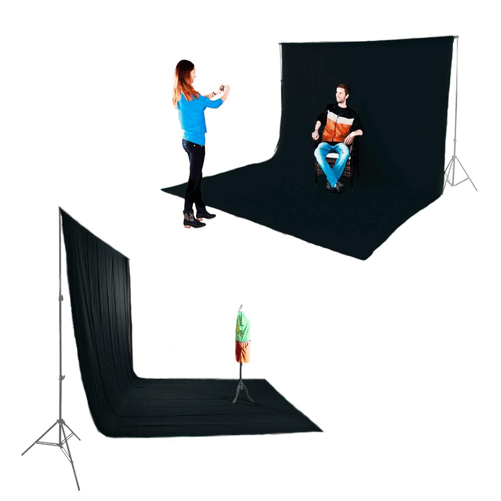 Kit para Foto e Vídeo com Suporte SFI-222, Fundo Infinito Oxford Preto e Grampos  - Fotolux