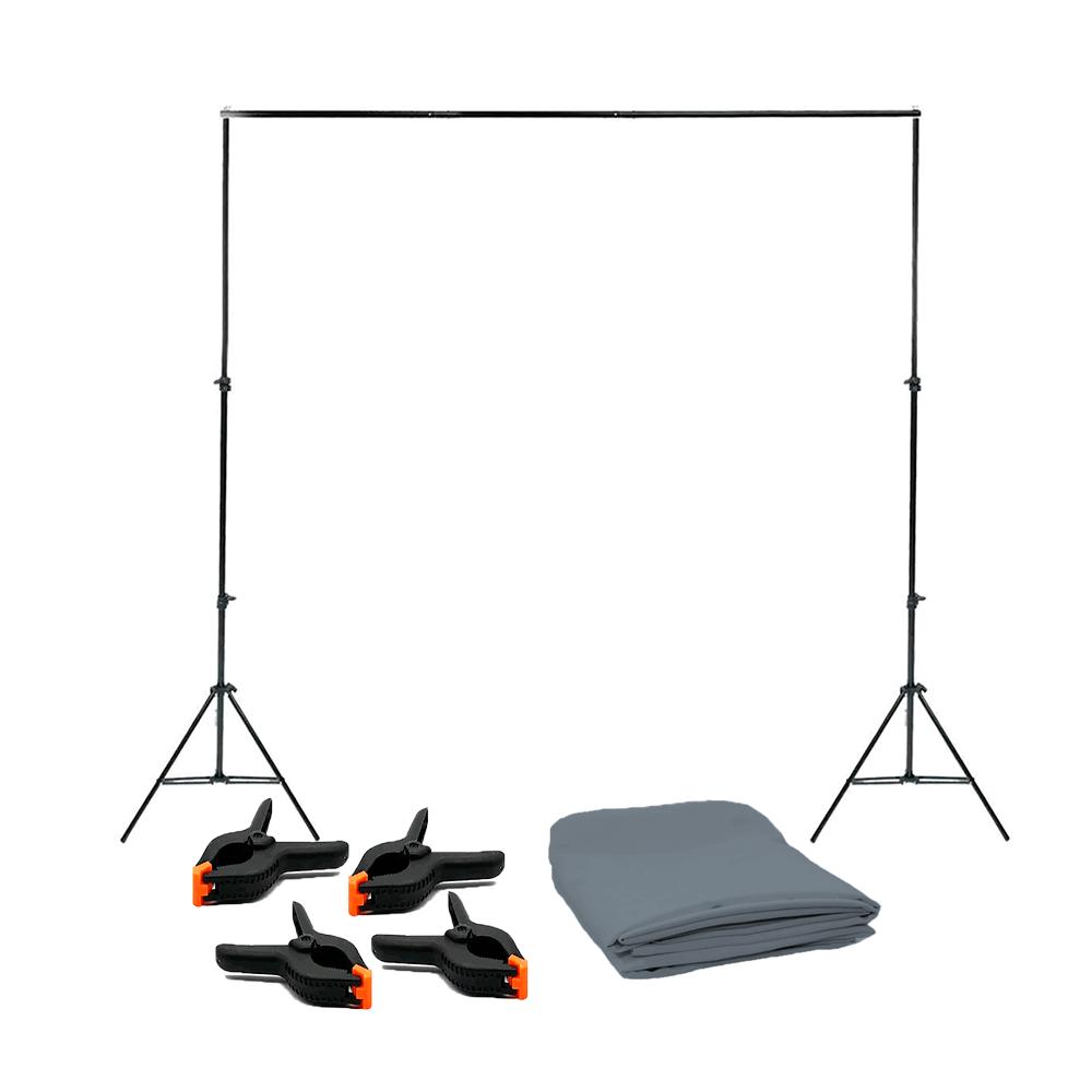 Kit para Foto e Vídeo com Tecido Oxford Cinza 3m x 5m, Suporte de Fundo 2,40cm x 3m e Grampos