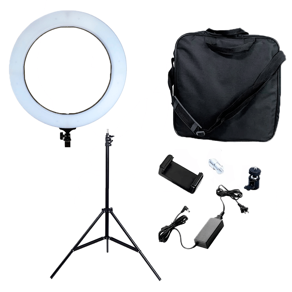Kit para Fotografia Com Fundo Oxford Cinza 1,5m x 2m completo e Iluminador Ring Light RL-19  - Fotolux