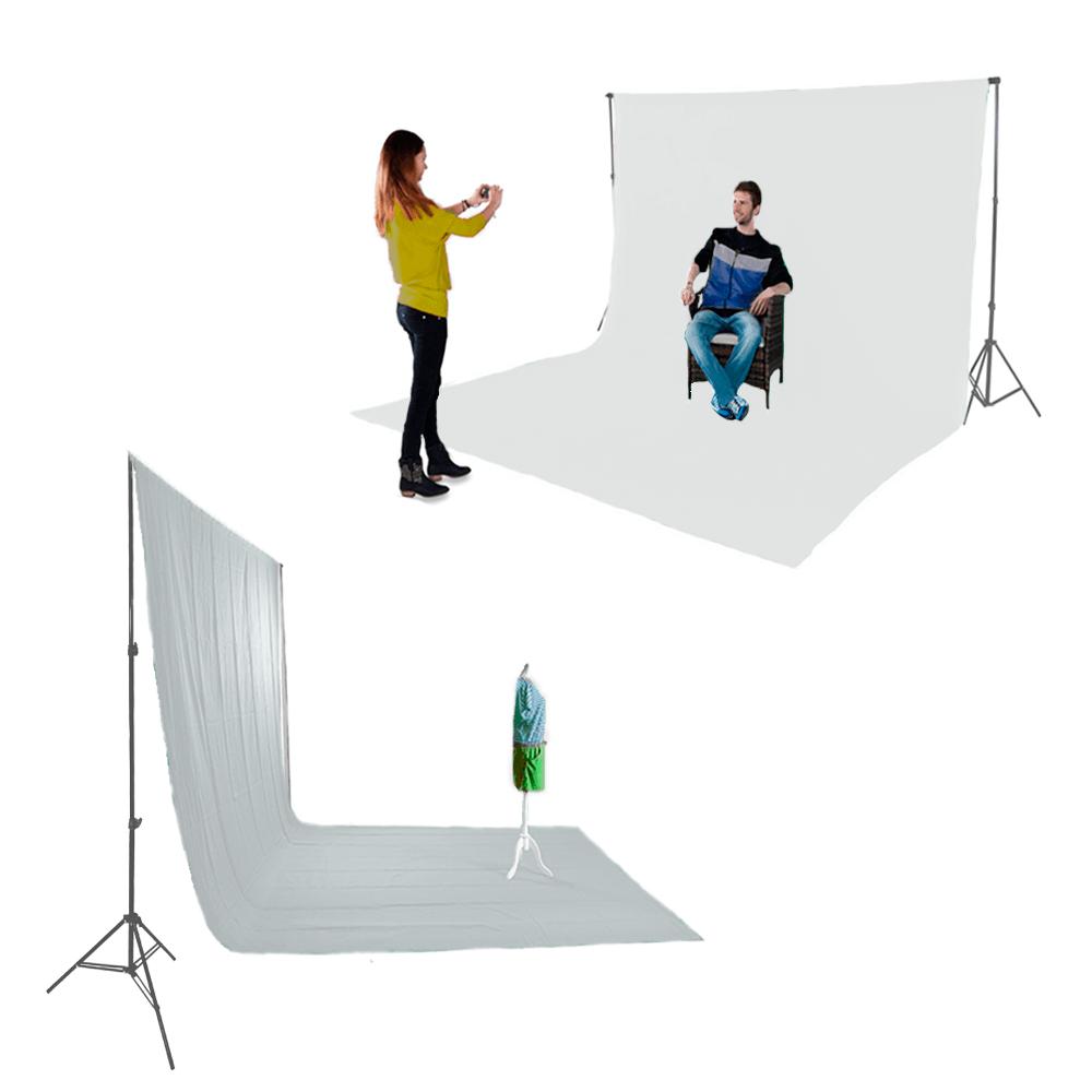 Kit para Fotografia e Vídeo com Suporte SFI-222, Fundo Infinito Oxford Branco e Grampos  - Fotolux