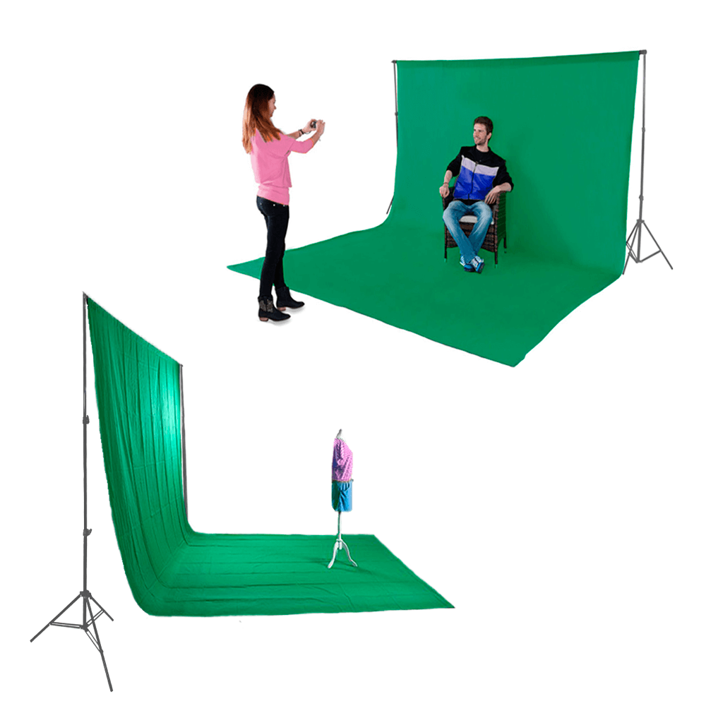 Kit para Foto e Gravação de Vídeo com Fundo Chroma Key Verde Muslin, Suporte de 2m e Grampos  - Fotolux