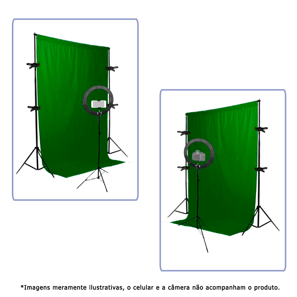 Kit para Gravação de Vídeo Fundo Chroma Key Verde 1,5m x 2m completo e Ring Light RL-19  - Fotolux