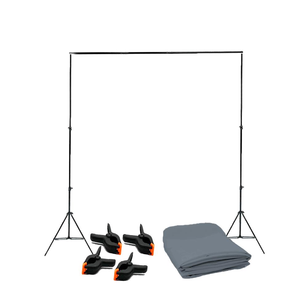 Kit para Gravação de Vídeo Suporte 2,40m x 3m, Tecido Cinza 2m x 2,80m e Grampos  - Fotolux