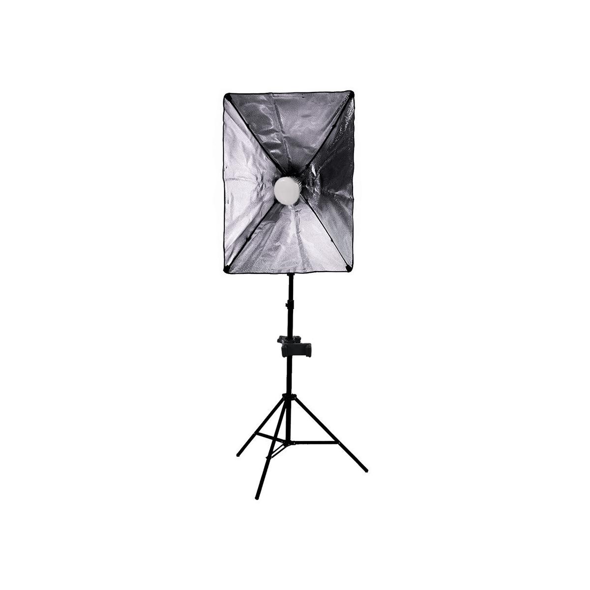 Luz para Gravar Vídeo com Suporte para Celular, Softbox completo e Lâmpada de 50w  - Fotolux