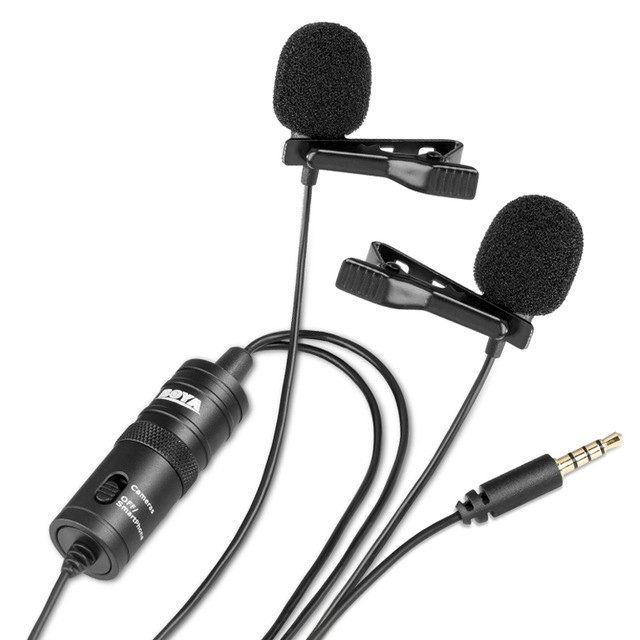 Microfone de Lapela Duplo Boya BY-M1DM para Câmeras, Filmadoras e Smartphones  - Fotolux