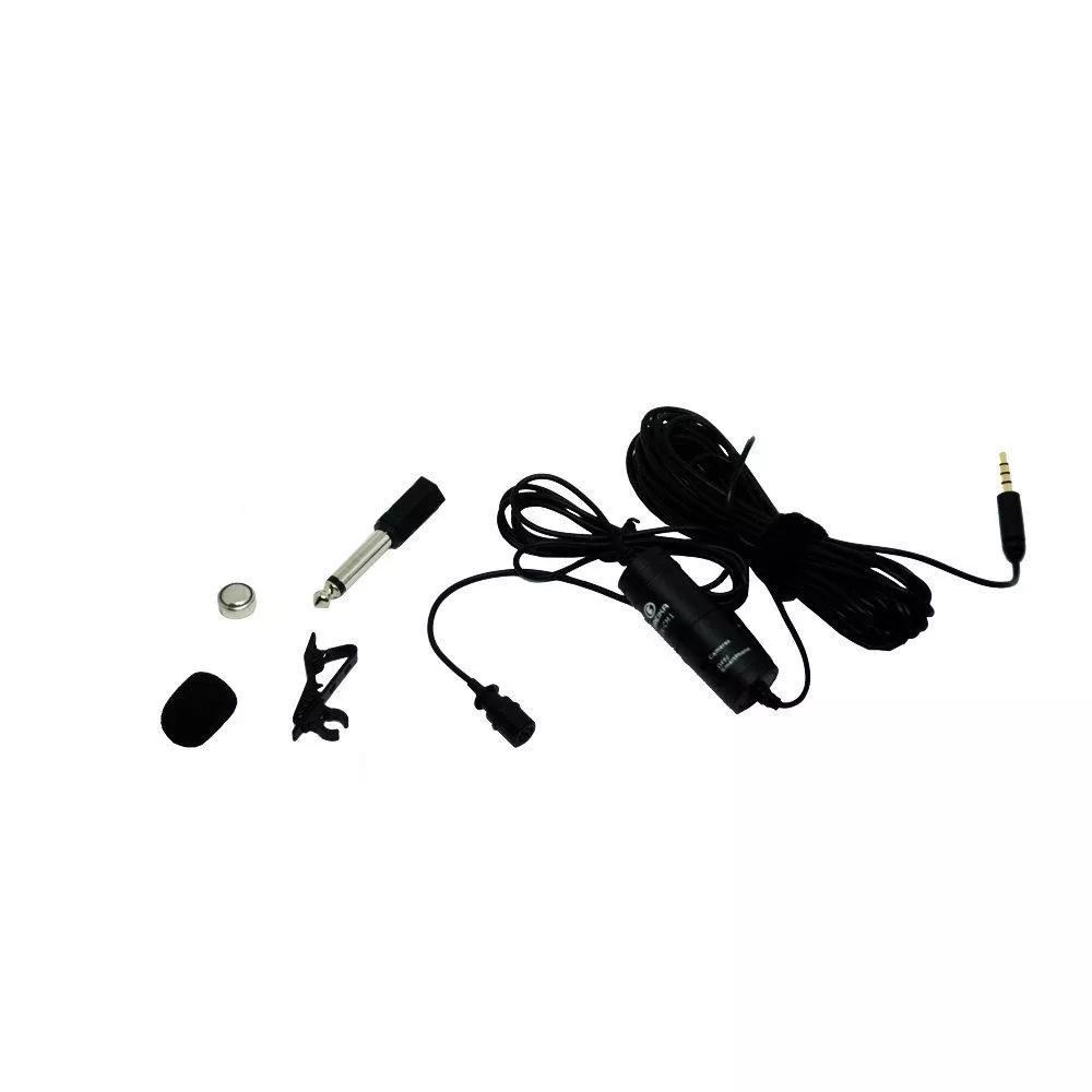 Microfone de Lapela Greika GK-CM1 para Câmeras DSLR, Filmadoras e Smartphones