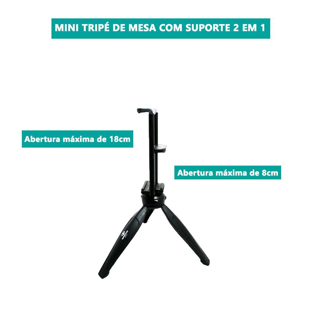 Mini Tripé com Ring Light Selfie para Celular E Tablet  - Fotolux