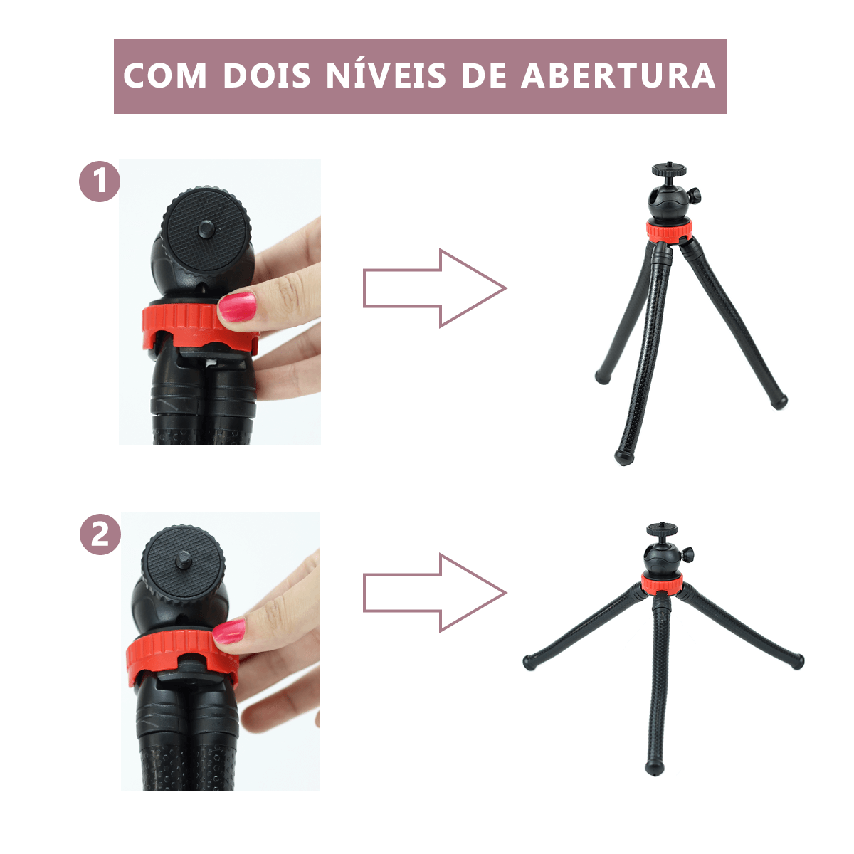 Mini Tripé de Mesa Octopus Flexível para Câmera e Celular Sou Foto MTP-002  - Fotolux