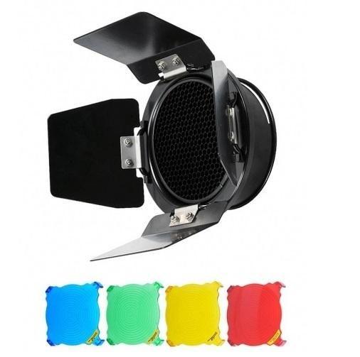 Rebatedor Barndoor com 4 Filtros Greika para Flash K150
