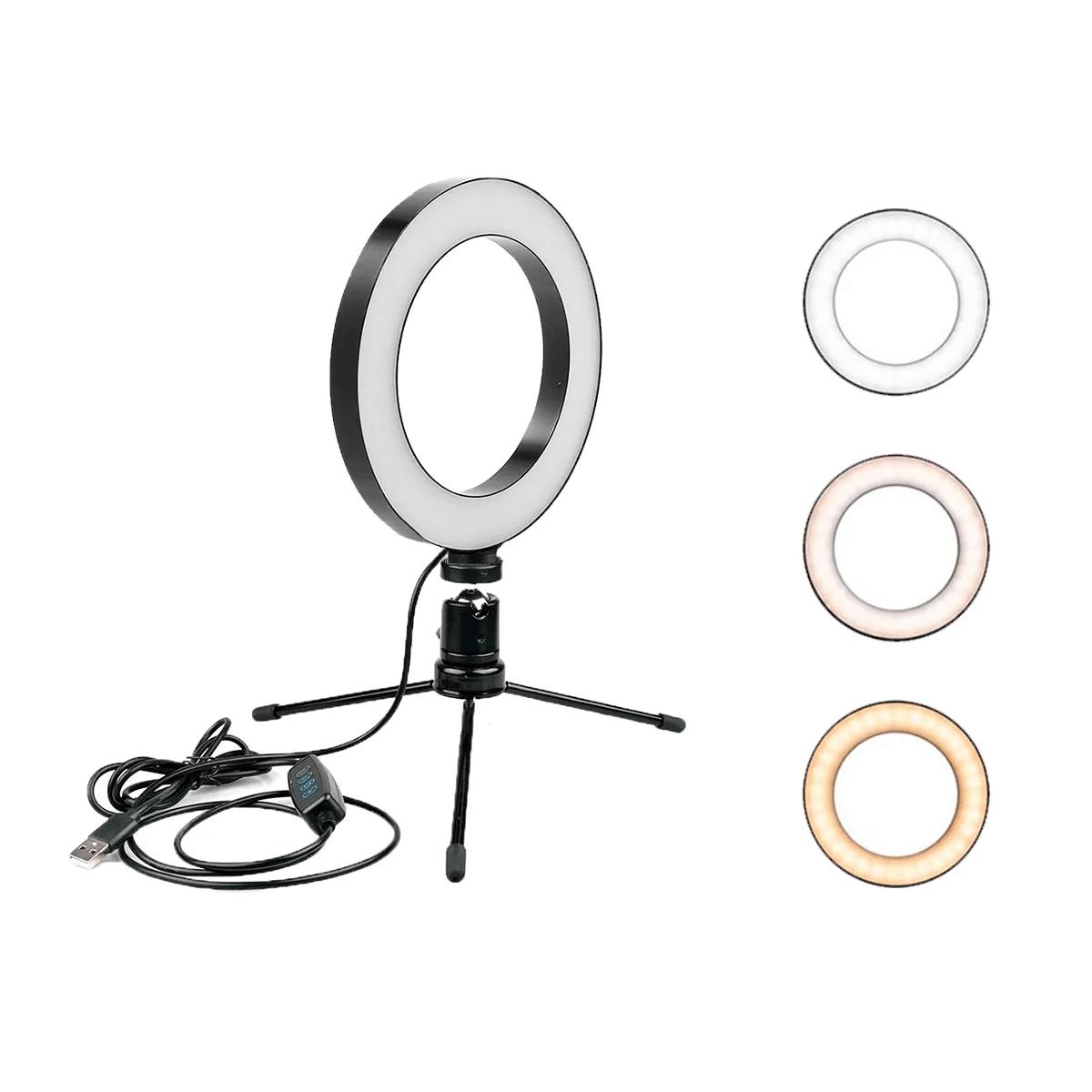 Ring Fill Light de Mesa 16cm Luz de Led para Foto e Vídeo  - Fotolux