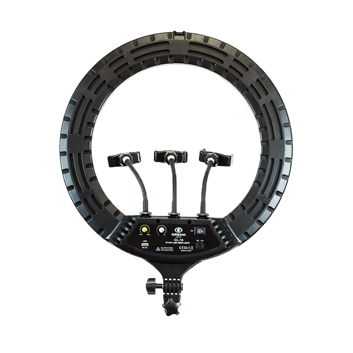 Ring Light 48w Iluminador de LED CL-18 45cm com 3 Suporte para Celular (sem tripé)  - Fotolux