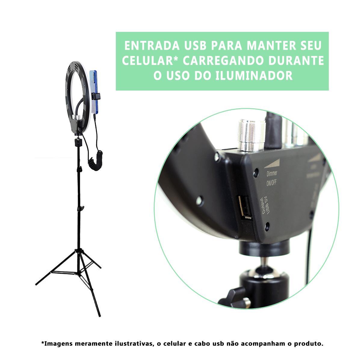Ring Light Led 20W Iluminador 26cm com Tripé de 2m Luz para Foto e Vídeo  - Fotolux