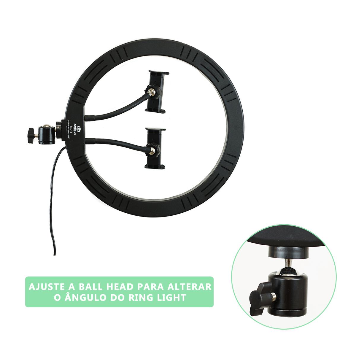 Ring Light LED 30cm Iluminador para Foto e Vídeo 10w com 2 Suporte para Celular (sem tripé)  - Fotolux
