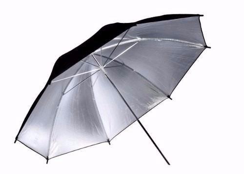 Sombrinha Refletora Reversível Preta, Prata e Branca 91cm Greika YU-303