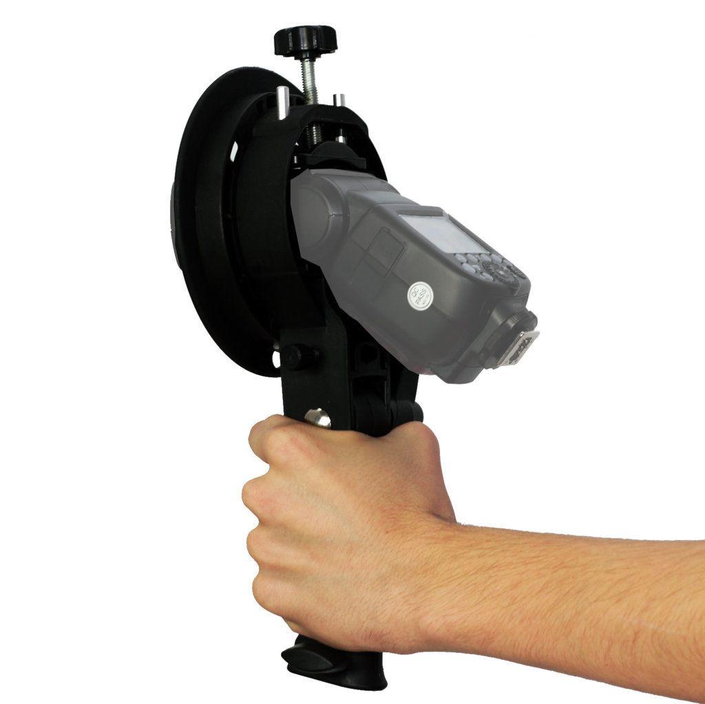 Suporte de Mão Greika YA5010 para Flashes Speedlite e Equipamentos com Montagem Bowens
