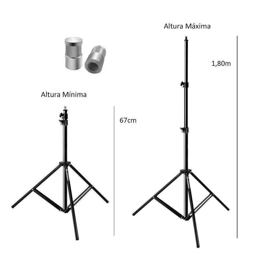 """Tripé de Iluminação Atek Mini Black 1.8 Metros Com o Pino 5/8 para Engate Rápido""""  - Fotolux"""