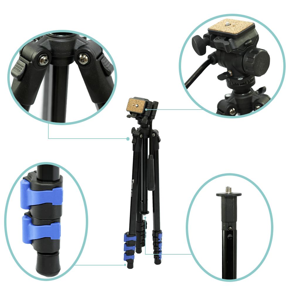 Tripé para Câmera com Cabeça Hidráulica Weifeng WF5316/WF3716H 160cm para Fotos e Filmagens  - Fotolux