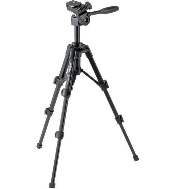 Tripé Velbon EX-Macro 56cm Cabeça 3 Vias para Câmeras e Filmadoras