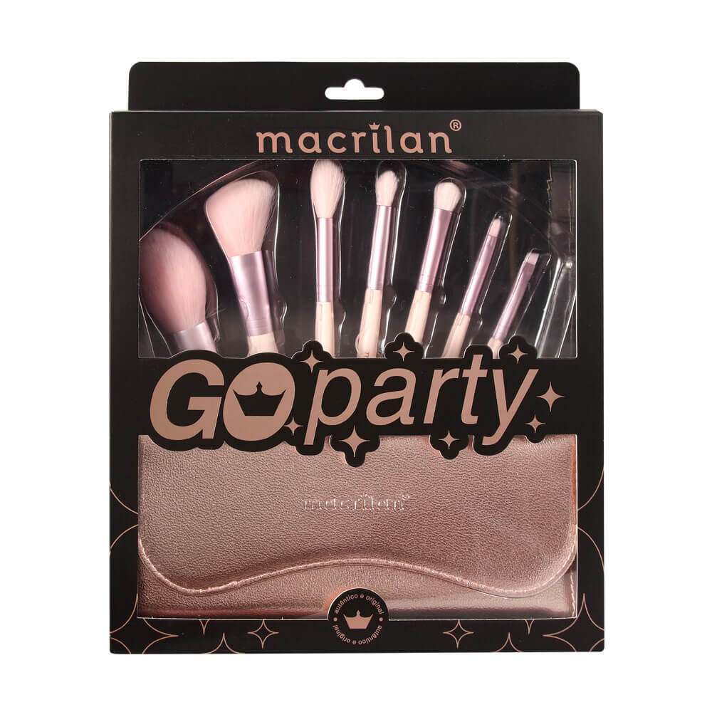 Kit com 7 Pincéis Profissionais Go Party - ED007 Macrilan