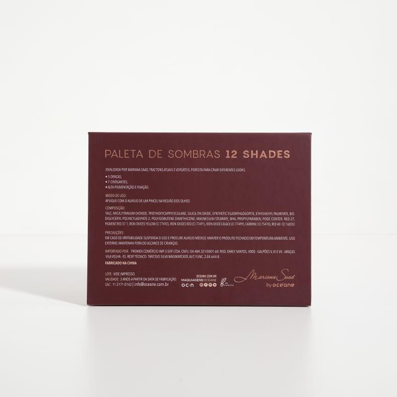 Kit Paleta 12 Shades + Flat Blend Mariana Saad by Océane