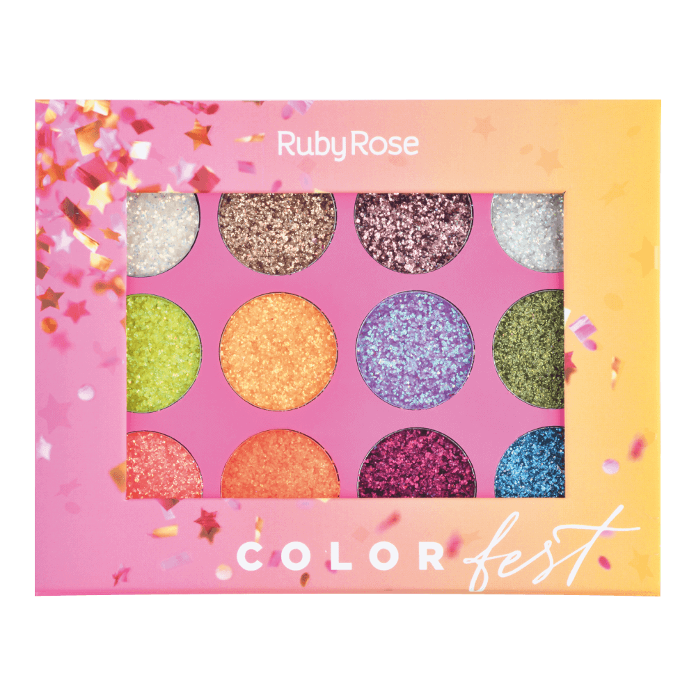 Paleta de Glitter Color Fest - Ruby Rose 10g