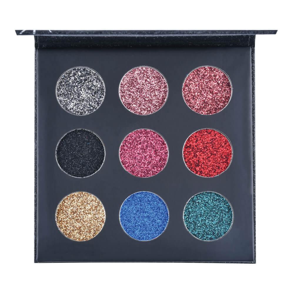 Paleta de Sombras Shine Glitter Black Ruby Rose - Glitter Cremoso 10,8g