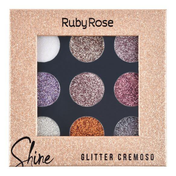 Paleta de Sombras Shine Glitter Light Ruby Rose - Glitter Cremoso 10,8g