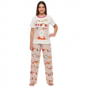 Pijama Sonhart Manga Curta e Calça Painel de Desejos