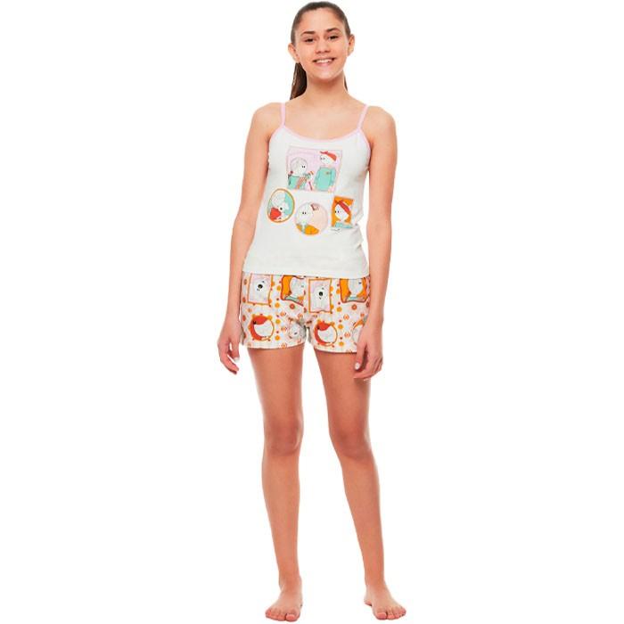 Pijama Sonhart Alça e Short Retratos